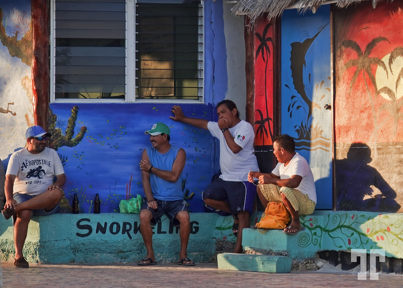 Beach workers after hours. End of the beach workday  Puerto Morelos, Mexico